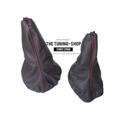 FOR  MERCEDES G CLASS GEAR & HI-LOW GAITER BLACK LEATHER RED STITCHING