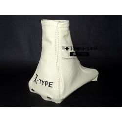 FOR JAGUAR X-TYPE 01-09 GEAR GAITER CREME LEATHER WITH PLASTIC FRAME