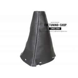 FOR TOYOTA AVENSIS 2003-2006 GEAR GAITER BLACK LEATHER WHITE STITCHING new