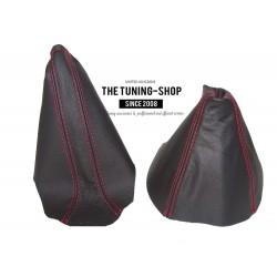 FOR VAUXHALL ASTRA MK5 H 2005-2009 GEAR HANDBRAKE GAITER BLACK LEATHER RED STITCHING
