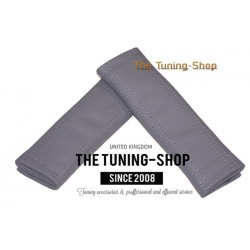 SEAT BELT COVERS x 2 GENUINE GREY LEATHER WITH GREY STITCHING NEW