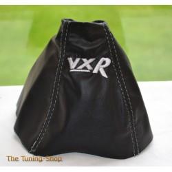 VAUXHALL ASTRA MK5 H 2005-2009 GEAR GAITER BLACK LEATHER embroidery SRI GREY STITCHING
