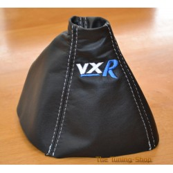 VAUXHALL ASTRA MK5 H 2005-2009 GEAR GAITER BLACK LEATHER embroidery SRI WHITE STITCHING 2