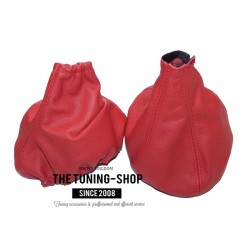 FOR ALFA ROMEO GIULIETTA 2010-2014 GEAR GAITER BOOT RED LEATHER RED STITCH NEW