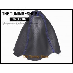 FOR AUDI A4 B5 95-97 GEAR GAITER SHIFT BOOT BLACK LEATHER BLUE STIT