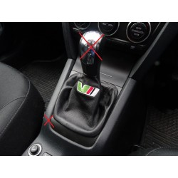 FOR SKODA OCTAVIA MK2 2004-2013 GEAR GAITER BLACK LEATHER RED STITCHING