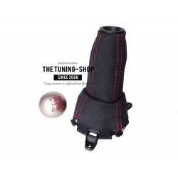 FOR  HONDA CIVIC FN2 06-12 5 Speed GEAR GAITER LEATHER with plastic frame and top ring and Metal Gear Knob Red Stitch