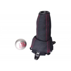 FOR  HONDA CIVIC FN2 06-12 5 Speed GEAR GAITER SUEDE with plastic frame and top ring and Metal Gear Knob Red Stitch