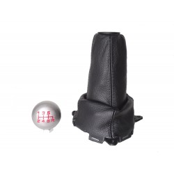 FOR  HONDA CIVIC FN2 06-12 5 Speed GEAR GAITER LEATHER with plastic frame and top ring and Metal Gear Knob