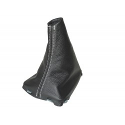 VOLVO S60 V60 MK2 2010-2018 GEAR GAITER WITH PLASTIC FRAME LEATHER STITCHING RED
