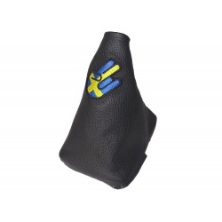 VOLVO S60 V60 MK2 2010-2018 GEAR GAITER WITH PLASTIC FRAME LEATHER EMBROIDERY BLUE STITCH