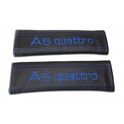 """SEAT BELT HARNESS COVERS PADS BLACK LEATHER EMBROIDERY  """"A5 quattro"""" EMBROIDERY"""