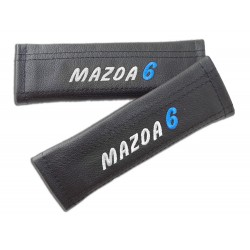 "2 X SEAT BELT HARNESS COVERS PADS LEATHER ""MAZDA 6"" EMBROIDERY FOR MAZDA"
