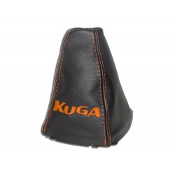 "FOR FORD KUGA 2008-2012 GEAR GAITER WITH PLASTIC FRAME LEATHER ""KIUGA"" BLUE EMBROIDERY"