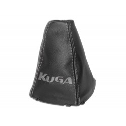 "FOR FORD KUGA 2008-2012 GEAR GAITER WITH PLASTIC FRAME LEATHER ""KIUGA"" WHITE EMBROIDERY"