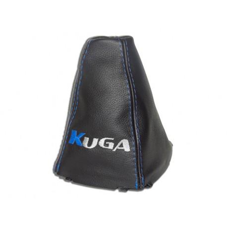 Gear Stick Gaiter Black Genuine Leather Blue KUGA Embroidery