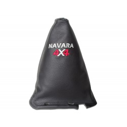 "FOR NISSAN NAVARA FL 2009-12 GEAR GAITER WITH FRAME 190MM LEATHER ""4X4"" BLACK EMBROIDERY"