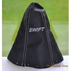 SUZUKI SWIFT 2005-2010 GEAR GAITER BLACK LEATHER EMBROIDERY GREY STITCHING