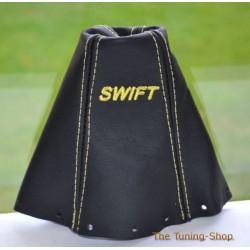 SUZUKI SWIFT 2005-2010 GEAR GAITER BLACK LEATHER EMBROIDERY YELLOW STITCHING