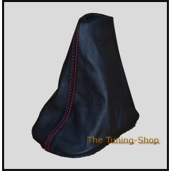 AUDI A3 96-00 GEAR GAITER SHIFT BOOT BLACK LEATHER RED STITCHING