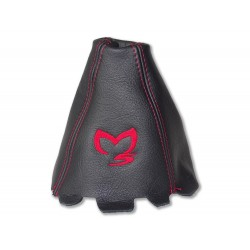 "FOR  MAZDA 3 2003-2009 GEAR GAITER LEATHER ""M3"" RED EMBROIDERY"