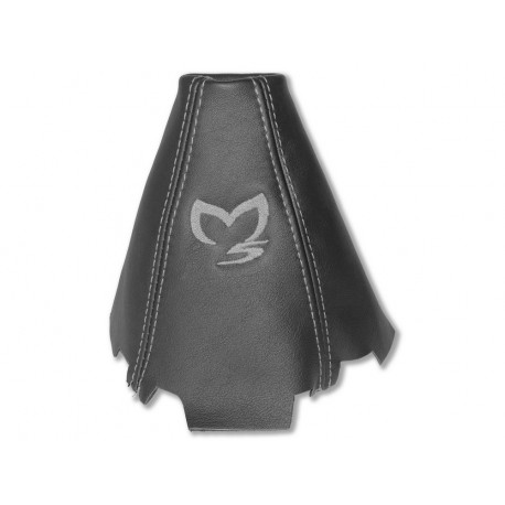 """FOR MAZDA 5 2005-10 GEAR GAITER LEATHER """"M5"""" WHITE EMBROIDERY"""