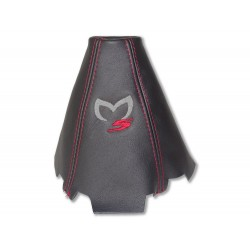 """FOR MAZDA 5 2005-10 GEAR GAITER LEATHER """"M5"""" GREY EMBROIDERY"""