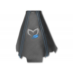 """FOR MAZDA 5 2005-10 GEAR GAITER LEATHER """"M5"""" BLACK EMBROIDERY"""