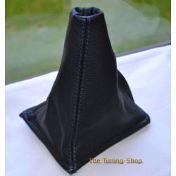 NISSAN PRIMERA 1996-2001 GEAR GAITER BLACK LEATHER BLUE STITCHING