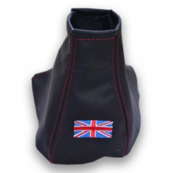 JAGUAR X-TYPE 01-08 GEAR GAITER BLACK LEATHER RED STITCHING EMBROIDERY BRITISH FLAG