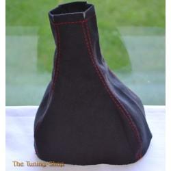 VAUXHALL CORSA C 2000-2006 GEAR GAITER BLACK ALCANTARA RED STITCHING