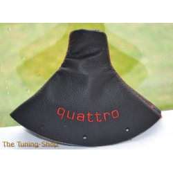 AUDI TT 98-06 GEAR GAITER SHIFT BOOT BLACK LEATHER EMBROIDERY QUATTRO RED