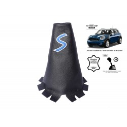 For Mini Cooper Countryman 2010-2016 Gear Gaiter Leather Blue Embroidery