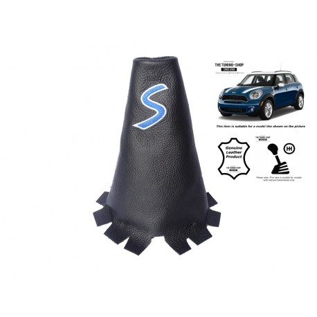 For Mini Cooper Countryman 2010-2016 Gear Gaiter Leather Red Embroidery