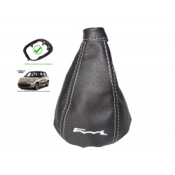 For Fiat 500L 2012-2018 Gear Gaiter with Plastic Frame Black Leather Red Embroidery