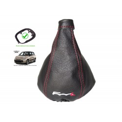 For Fiat 500L 2012-2018 Gear Gaiter with Plastic Frame Black Leather White Embroidery