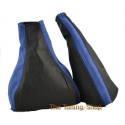 ASTRA MK3 F 91-98 GEAR+ HANDBRAKE GAITER BLACK LEATHER BLUE SUEDE