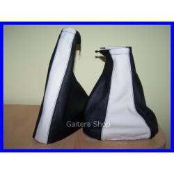 ASTRA MK3 F 91-98 GEAR+HANDBRAKE GAITER BLACK+WHITE LEATHER