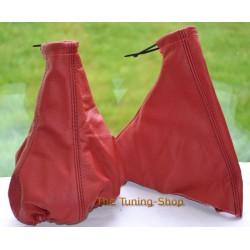 ASTRA MK3 F 91-98 GEAR+HANDBRAKE GAITER RED LEATHER BLACK STITCHING