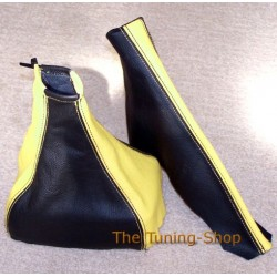 VAUXHALL OPEL CALIBRA 90-97 GAITERS BOOTS BLACK+YELLOW LEATHER