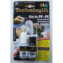 1 x CLEAR ADHESIVE GLUE FOR PP Polypropylene, PE Polyethylene, PTFE, Silicone etc 8ml+8g TECHNICQLL NEW