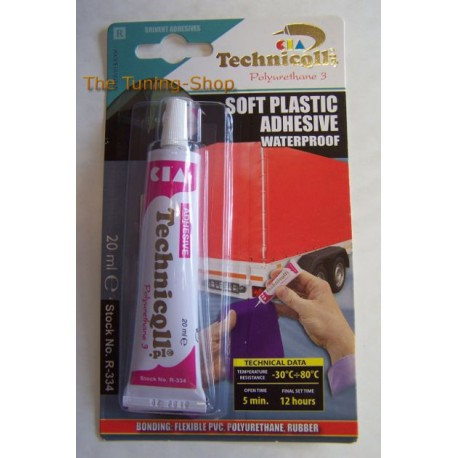 1 x CLEAR ADHESIVE GLUE FOR SOFT PVC SYNTHETIC MATERIALS UPHOLSTERY HIGH QUALITY 20ml TECHNICQLL NEW