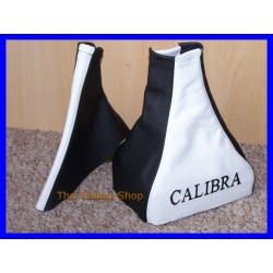 VAUXHALL OPEL CALIBRA GAITERS WHITE/BLACK embroidery CALIBRA bla