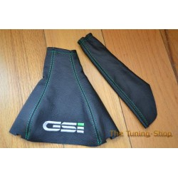 VAUXHALL ASTRA MK2 OPEL KADETT E GAITERS LEATHER EMBROIDERED GSI GREEN STITCH