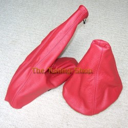 VW GOLF 3 MK3 GEAR & HANDBRAKE GAITERS BOOTS DARK RED LEATHER