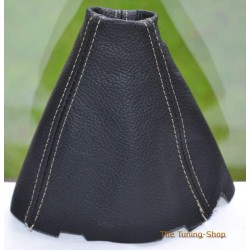 HONDA CIVIC MK8 SEDAN COUPE Si FA FD FG 06-11 GEAR GAITER SHIFT BOOT BLACK LEATHER GREY STITCHING