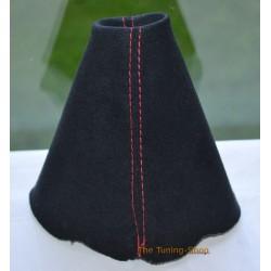 AUDI TT 2006-2013 GEAR GAITER BLACK SUEDE RED STITCHING