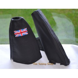 BMW MINI COOPER R55 R56 R57 CLUBMAN GEAR  GAITER BLACK LEATHER WHITE STITCHING EMBROIDERY ENGLISH FLAG