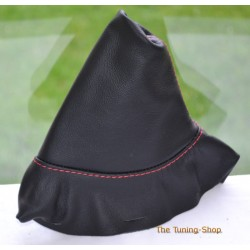 PEUGEOT 308 2007-2013 HANDBRAKE GAITER BLACK LEATHER RED STITCHING
