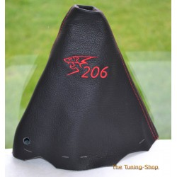 PEUGEOT 206 GEAR GAITER BLACK LEATHER EMBROIDERY RED STITCHING 2